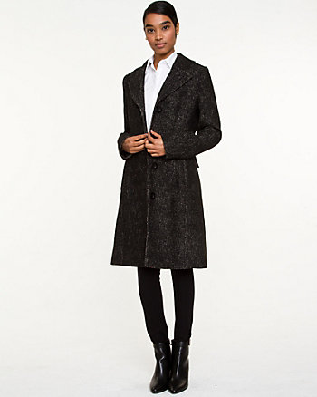 Tweed Notch Collar Belted Coat