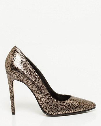 Italian-Made Metallic Leather Pointy Pump