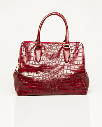 Leather-like Crocodile Embossed Satchel