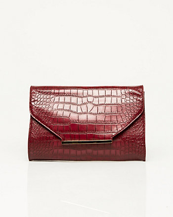 Leather-like Croco Crossbody Bag