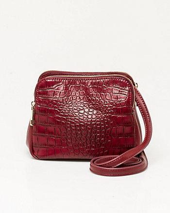 Leather-like Croco Crossbody Bag