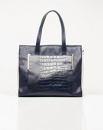 Leather-like Croco Embossed Tote