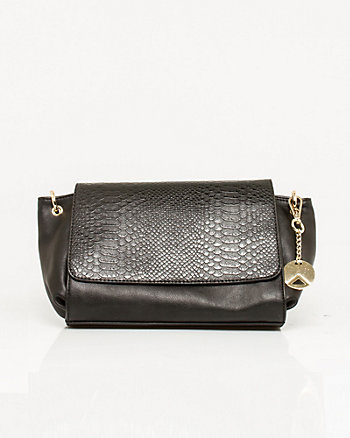 Leather-like Lizard Embossed Crossbody Bag