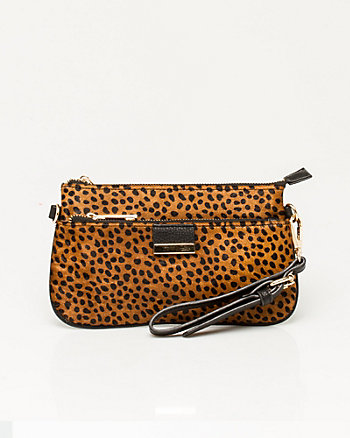 Leather & Pony Hair Wristlet