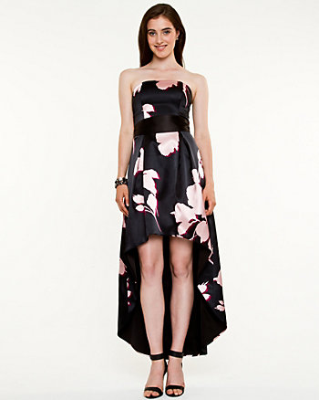 Satin Floral Print High-Low Gown
