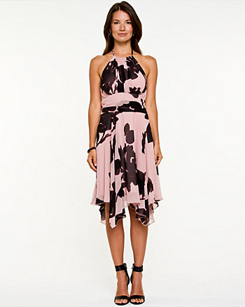 Chiffon Floral Print Halter Dress