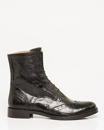 Italian-Made Leather Lace-Up Combat Bootie