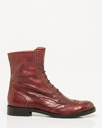 Leather Lace-Up Combat Bootie