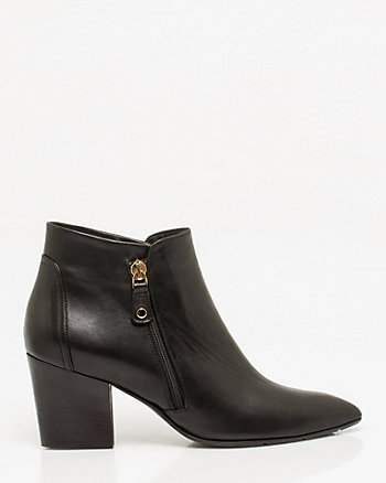 Italian-Made Leather Pointy Bootie