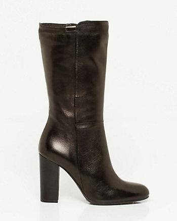 Italian-Made Leather Mid Calf Boot