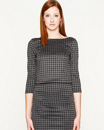 Double Knit Check Print Crop Top