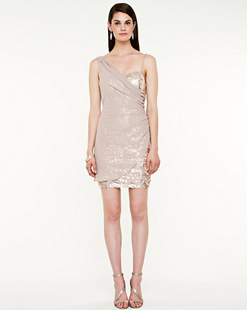 Sequin Asymmetrical Fitted Dress
