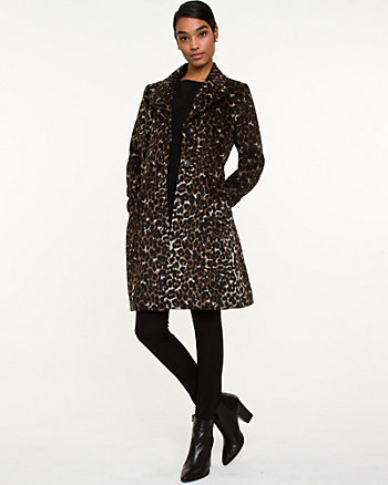 Wool Blend Animal Print Coat