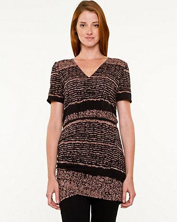 Stripe Knit Cowl Neck Tunic