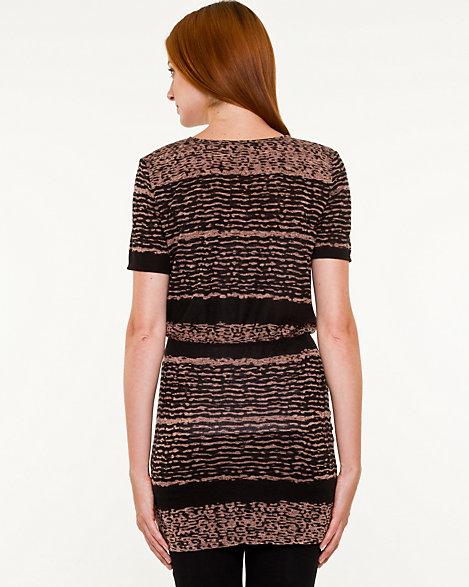 Le Chateau: Stripe Knit Cowl Neck Tunic