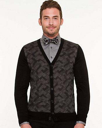 Wool Blend Check Print Cardigan
