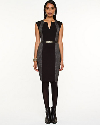 Ponte Knit & Tweed Fitted Dress