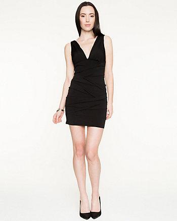 Knit V-Neck Pleated Dress