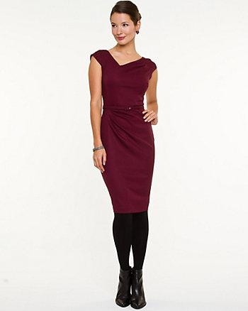 Asymmetric Cap Sleeve Shift Dress