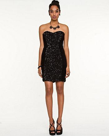 Knit Jewel Embellished Mini Dress