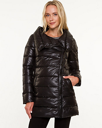 Puffer Foldover Collar Coat