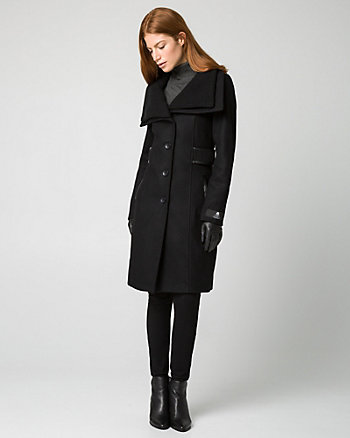 Melton Foldover Collar Coat