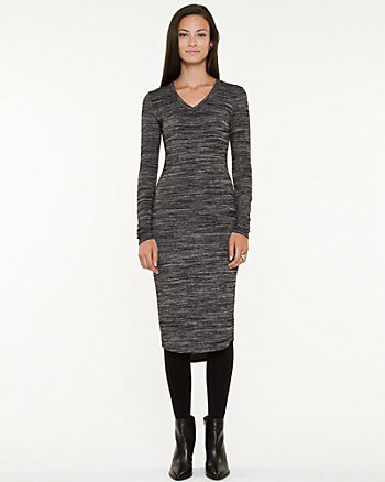 Knit V-neck Fitted Dress
