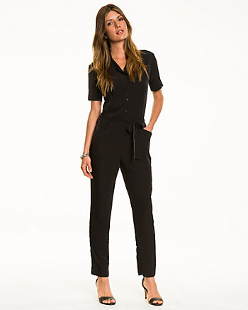 Twill Button-Front Jumpsuit