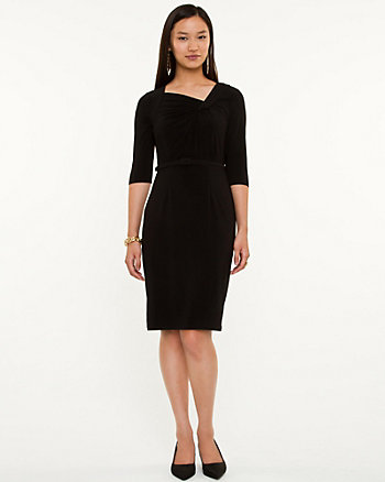 Pleated Knit Day Dress
