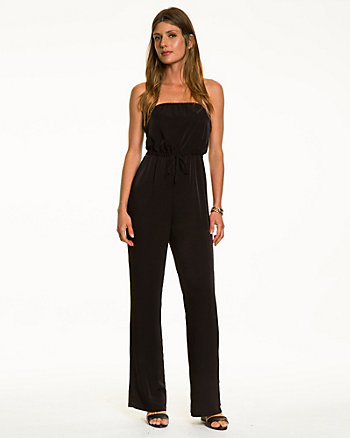 Stretch Twill Strapless Jumpsuit