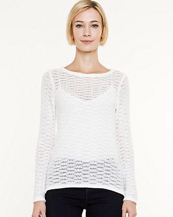 Open-Stitch Boat Neck Sweater