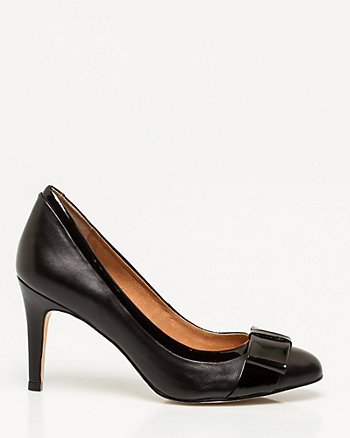 Patent Leather-Like Almond Toe Pump