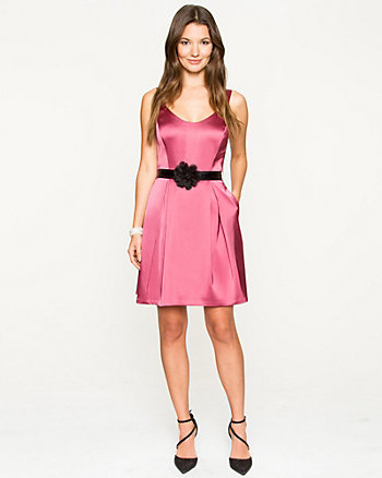 Satin Belted Fit & flare Dress