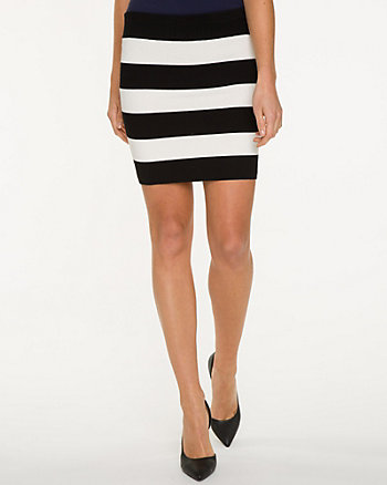 Stripe Viscose Blend Skirt