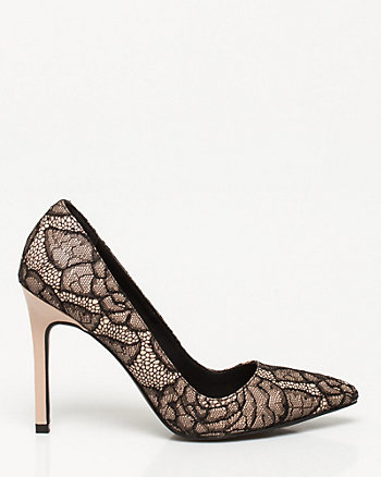 Lace & Leather-Like Pointy Toe Pump
