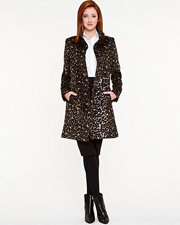 Leopard Wool Blend Coat