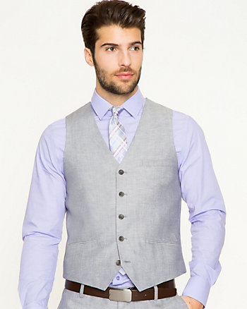 Linen Blend Contemporary Fit Vest
