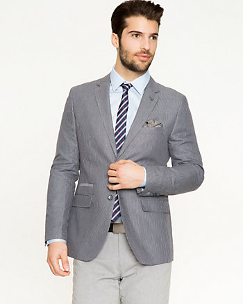 Stripe Linen Blend Contemporary Fit Blazer