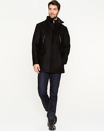 Melton Funnel Neck Car Coat