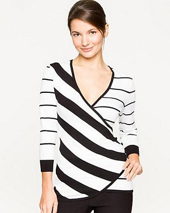 Stripe Viscose Blend Wrap Sweater