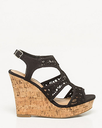 Lace Cutout Wedge Sandal