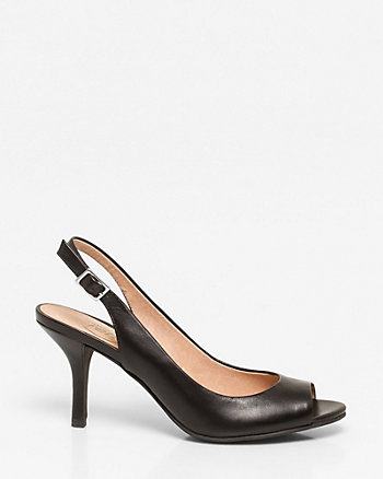 Leather Peep Toe Slingback
