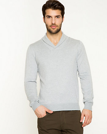 Rayon Blend Shawl Collar Sweater