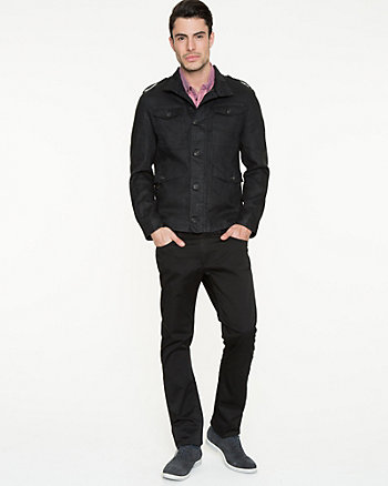 Linen Funnel Neck Slim Fit Jacket