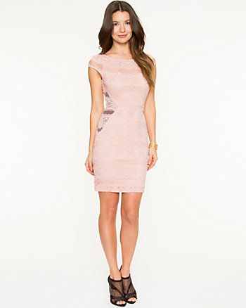 Lace Fitted Scoop Back  Dress