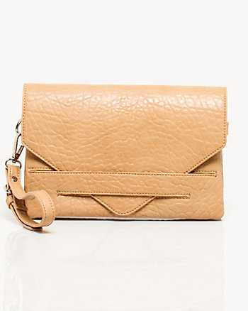 Elephant Embossed Leather-Like Clutch