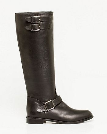 Leather Knee-high Buckled Boot