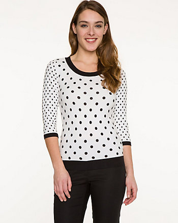 Polka Dot Cotton Blend Sweater