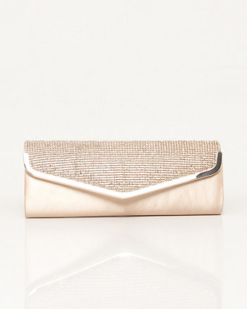 Jeweled Satin Flapover Clutch