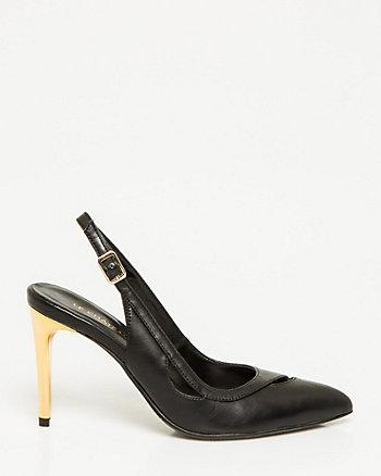 Leather-Like Pointy Toe Slingback Pump